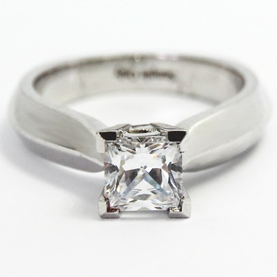 Tapered Knife Edge Engagement Ring 14k White Gold