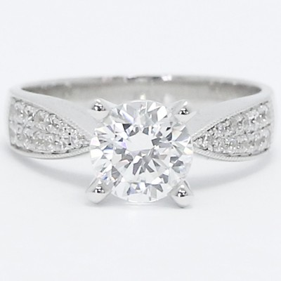 Tapered Pave Set Engagement Setting 14k White Gold