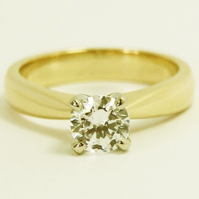 Tapered Solitaire Engagement Ring 14k Yellow Gold
