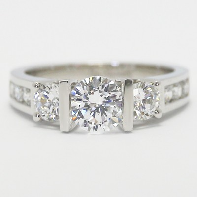 E93509 Tension Style Double Bar Setting Engagement Ring 14k White Gold