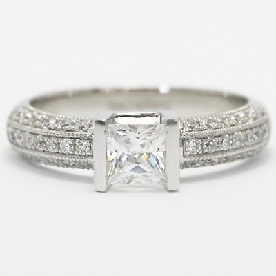 Tension Style Princess Cut Engagement Ring 14k White Gold