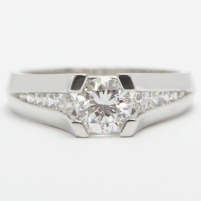 Tension Style Tapered Channel Engagement Ring 14k White Gold