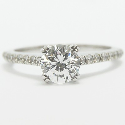Thin Band French Pave Set Engagement Ring 14k White Gold