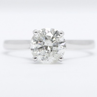 Thin Band Solitaire Diamond Engagement Ring 14k White Gold E92129-D