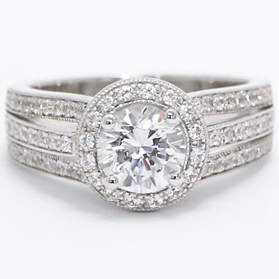 Three Row Milgrained Diamond Halo Engagement Ring 14k White Gold
