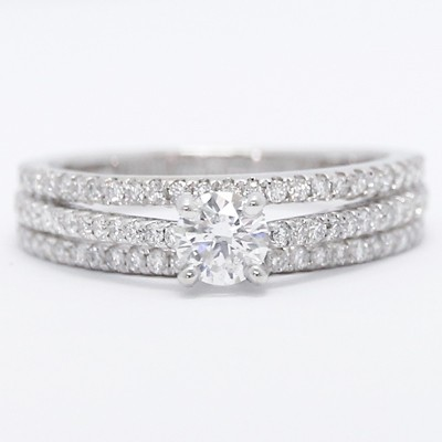 Three Row Split Shank Diamond Engagement Ring 14k White Gold