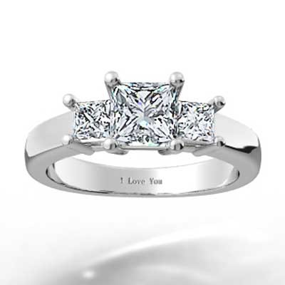 Three Stone Princess Setting 14k White Gold
