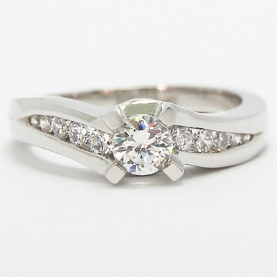 Twisted Channel Set Diamond Engagement Ring 14k White Gold