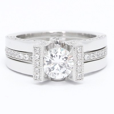 Two Piece Set Diamond Engagement Ring 14k White Gold E3830