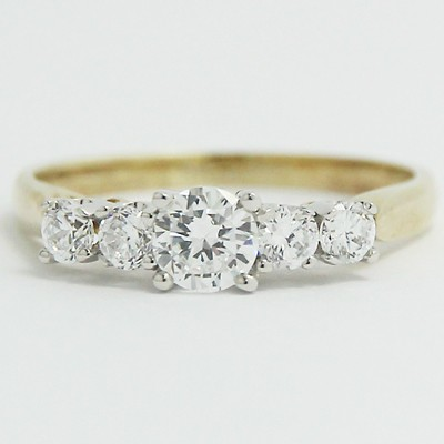 Two Tone Cathedral Set Five-Stone Ring 14k White & Yellow Gold