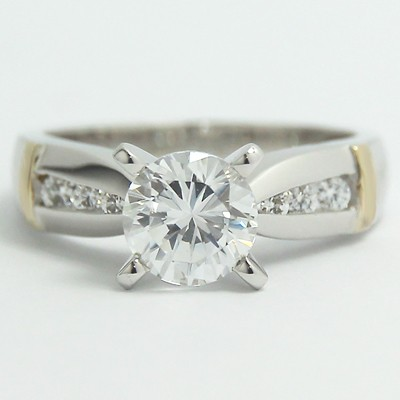 Two Tone Tapered Engagement Ring 14k White & Yellow Gold