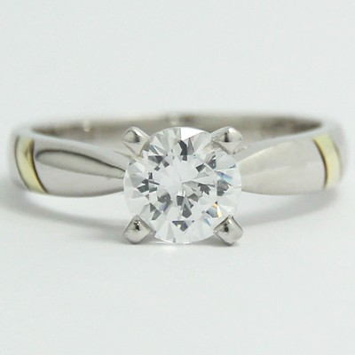 Two Tone Tapered Solitaire Ring 14k White & Yellow Gold