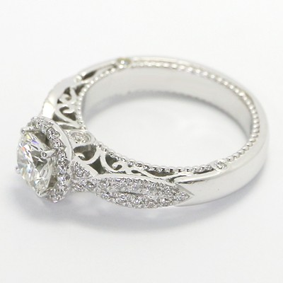 Venetian Style Diamond Engagement Ring 14k White Gold