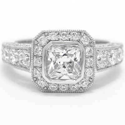 Vintage Pave Set Cathedral Halo Diamond Engagement Ring 14k White Gold