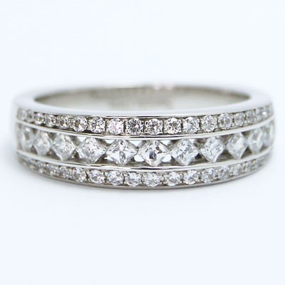 W93864 Vintage Mix Diamonds Engagement Ring 14k White Gold