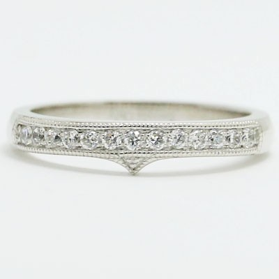 W93356-1 Fitted Milgrained Diamond Wedding Band 14k White Gold
