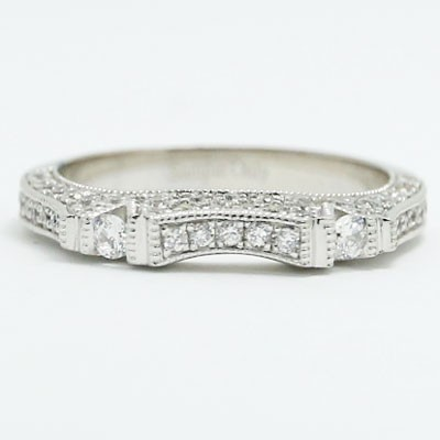 W93525 Venetian Style Diamond Wedding Band 14k White Gold