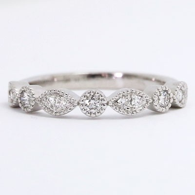 W94232-H Milgrained Marquise and Dot Diamond Wedding Ring 14k White Gold