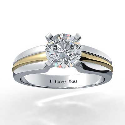 14k  White and Yellow Gold Engagement Ring