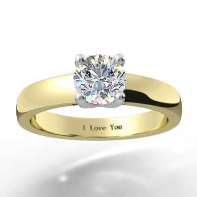 Classic 4 Claw Solitaire Ring 14k Yellow Gold
