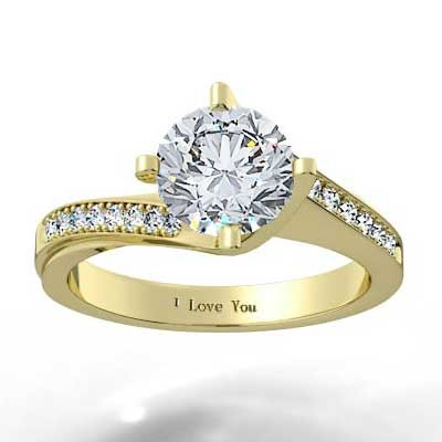 Curved Engagement Ring 14k Yellow Gold