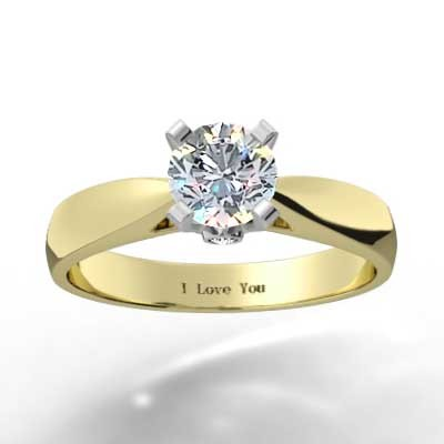 Surprise Diamond Solitaire Ring 14k Yellow Gold