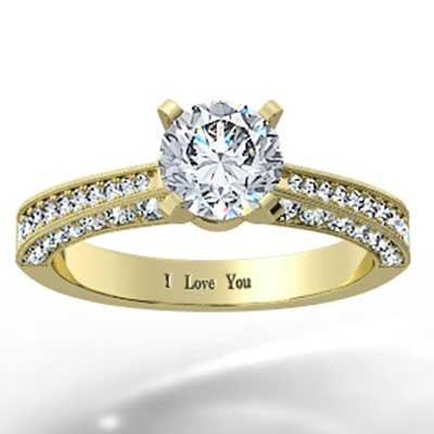 Micro Pave Engagement Ring 14k Yellow Gold