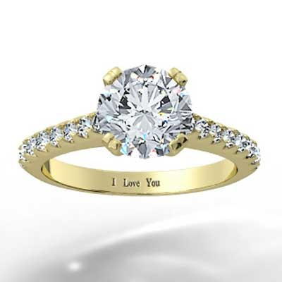 Thin Band French Pave Set Engagement Ring 14k Yellow Gold