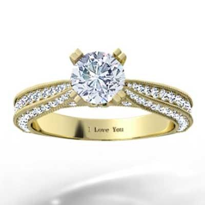 Triple Sided Pave Engagement Ring 14k Yellow Gold