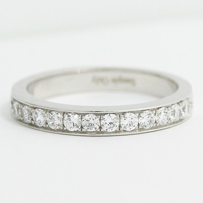 W93623 28mm Channel Bead Set Wedding Band 14k White Gold