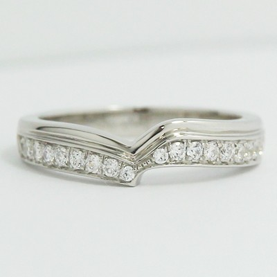 w93664 3 4 custom curved design wedding band 14k white gold