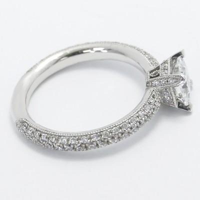 Pave Set Princess Cut Engagement Ring 14k White Gold