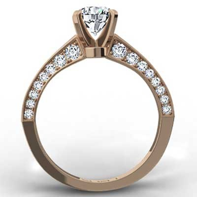 Micro Pave Engagement Ring 14k Rose Gold