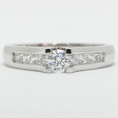 Tension Style Channel Set Engagement Ring 14k White Gold SKU E93348