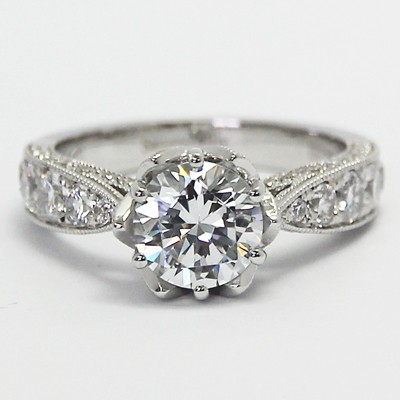 14k white gold vintage style engagement ring. Black Bedroom Furniture Sets. Home Design Ideas