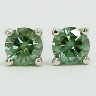 0.20 Carats Green Diamond Studs Earrings 14k Yellow Gold AP20