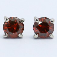 0.23 Carats Red Diamond Studs Earrings 14k White Gold RE23