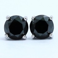 0.25 Carats Black Diamond Studs Earrings 14k White Gold BK25
