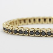 3.0 Carats Black Diamond Bracelet in 14k Yellow Gold BDB3