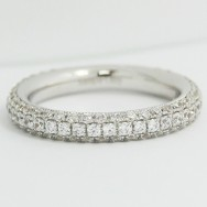 3.4mm Rounded Micro Pave Diamond Band 14k White Gold