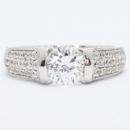 3 Row Milgrained Pave Tension Style Engagement Ring 14k White Gold