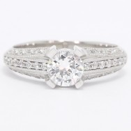 3 Sided Pave Diamond Engagement Ring 14k White Gold