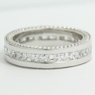 5.5mm Princess Cut Channel Bend Set with Hand Engraving 14k White Gold