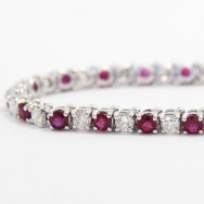 6.06 Carats Ruby and Diamond Bracelet in 14k White Gold RDB6.06