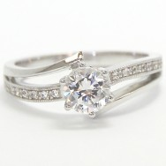 6 Prong Double Band  Design Engagement Ring 14k White Gold