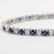 7.21 Carats Sapphire and Diamond Bracelet in 14k White Gold SDB7.21
