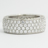 7.85mm Six Row Diamond Eternity Wedding Band 14k White Gold L3807