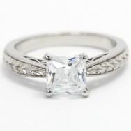 Antique Style Milgrained Engagement Ring 14k White Gold