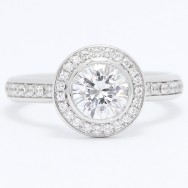 Bezel Set Floating Diamonds Halo Engagement Ring 14k White Gold