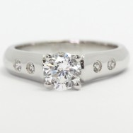 Bezel Set Side Diamond Engagement Ring 14k White Gold